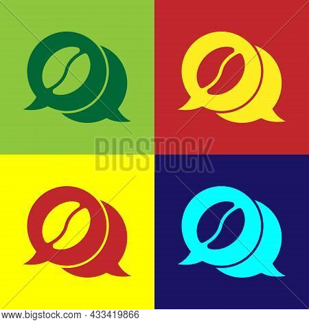 Pop Art Coffee And Conversation Icon Isolated On Color Background. Coffee Talk. Speech Bubbles Chat.
