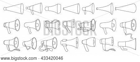 Megaphone Isolated Outline Set Icon. Vector Illustration Loudspeaker On White Background. Vector Out