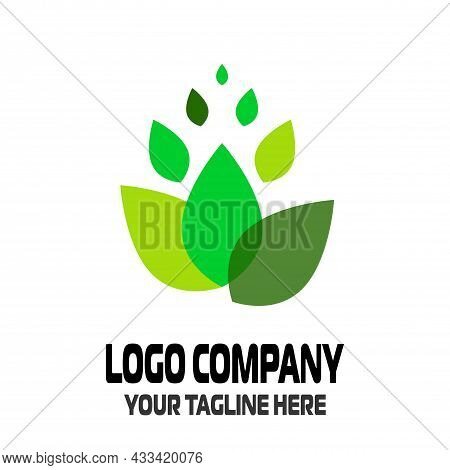 Abstract Green Leaf Logo Icon Vector Design. Landscape Design, Garden, Plant, Nature And Ecology Vec