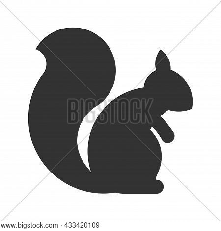 Squirrel Animal Icon. Flat Simple Pictogram. Squirrel Rodent Vector Illustration