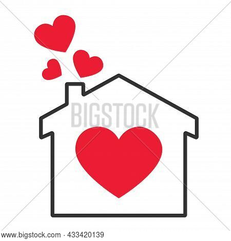Doi Icon From The Chimney Which Emits Smoke In The Form Of Hearts. Sweet Home Logo - Outline House A