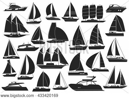 Sail Yacht Vector Black Set Icon. Vector Illustration Sailboat On White Background. Isolated Black S