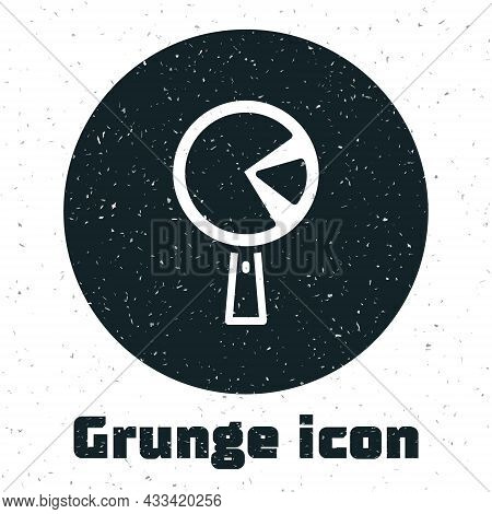 Grunge Omelette In Frying Pan Icon Isolated On White Background. Omelet In A Skillet. Monochrome Vin
