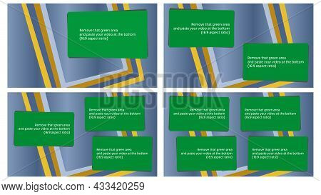 Editable Set Of 4 Video Overlay Blanks. Removable Green Screen Template To Embed Your Video Or Photo