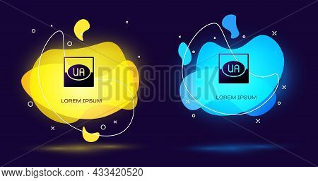 Black National Flag Of Ukraine Icon Isolated On Black Background. Abstract Banner With Liquid Shapes