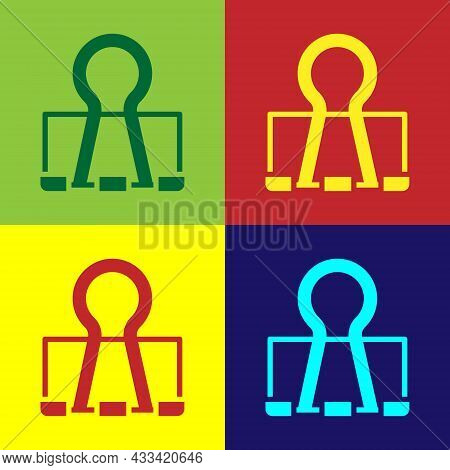 Pop Art Binder Clip Icon Isolated On Color Background. Paper Clip. Vector