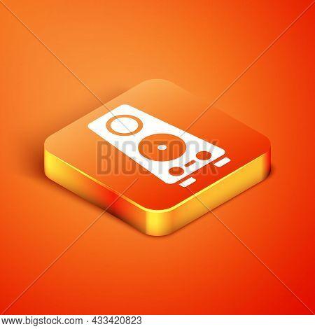 Isometric Stereo Speaker Icon Isolated On Orange Background. Sound System Speakers. Music Icon. Musi