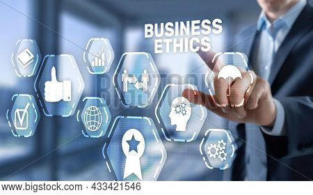 Man Pressing Button On Virtual Screen Interface And Select Business Ethics