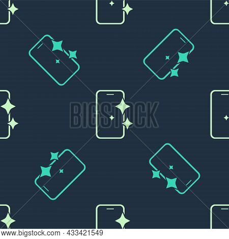 Green And Beige Glass Screen Protector For Smartphone Icon Isolated Seamless Pattern On Blue Backgro
