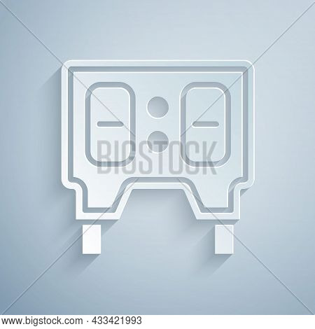 Paper Cut Sport Baseball Mechanical Scoreboard And Result Display Icon Isolated On Grey Background.