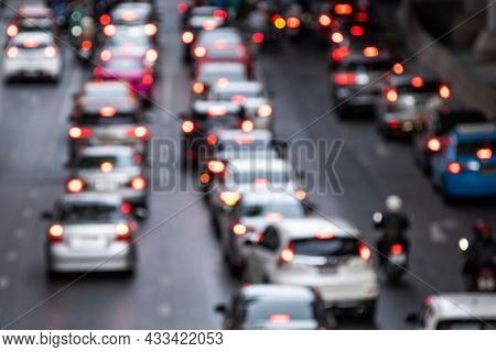 Busy crowded traffic jam on the road