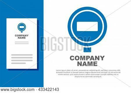 Blue Stop Sign Icon Isolated On White Background. Traffic Regulatory Warning Stop Symbol. Logo Desig