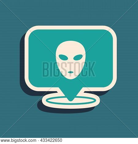 Green Alien Icon Isolated On Green Background. Extraterrestrial Alien Face Or Head Symbol. Long Shad