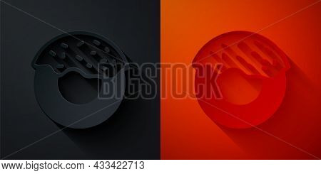 Paper Cut Donut With Sweet Glaze Icon Isolated On Black And Red Background. Paper Art Style. Vector