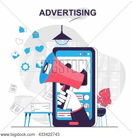 Advertising Isolated Cartoon Concept. Online Promotion In Social Media At Mobile App, People Scene I