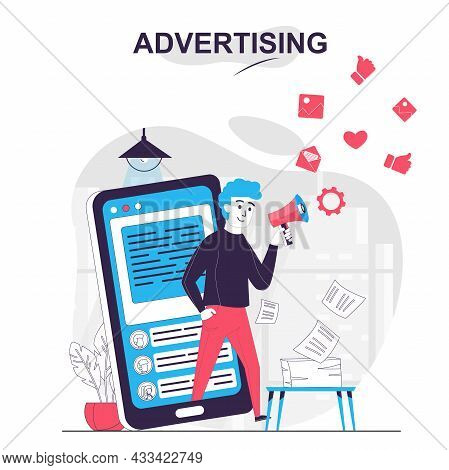 Advertising Isolated Cartoon Concept. Man Attracts Clients In Social Media At Mobile App, People Sce