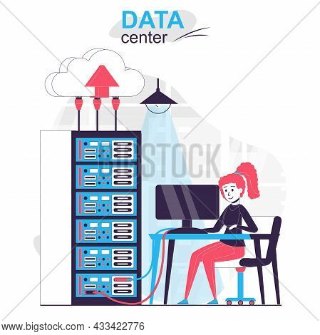 Data Center Isolated Cartoon Concept. Woman Working At Server Rack Room, Networking Hardware People