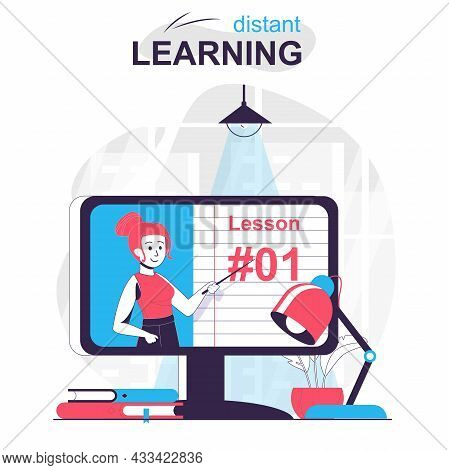 Distant Learning Isolated Cartoon Concept. Online Education, E-learning, Refresher Courses, People S