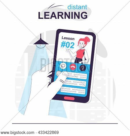 Distant Learning Isolated Cartoon Concept. Online Lessons In Mobile App, Educational Courses People