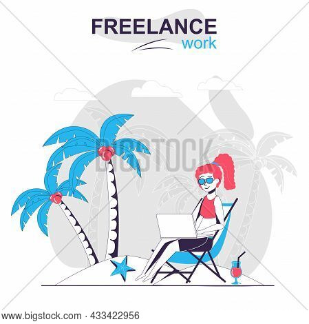 Freelance Work Isolated Cartoon Concept. Woman Working On Laptop On The Beach, Freelancer People Sce