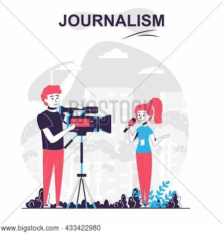 Journalism Isolated Cartoon Concept. Journalist Makes Report, Records Story With Cameraman, People S