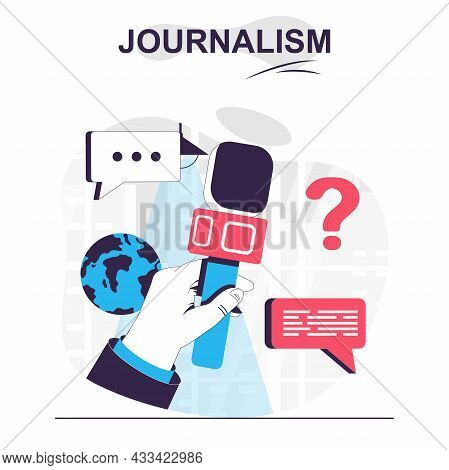 Journalism Isolated Cartoon Concept. Journalist Holding Microphone At Press Conference, People Scene