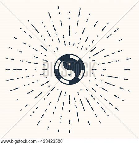 Grey Yin Yang Symbol Of Harmony And Balance Icon Isolated On Beige Background. Abstract Circle Rando