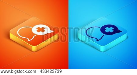 Isometric Dialogue With The Doctor Icon Isolated On Orange And Blue Background. Doctor And Patient D