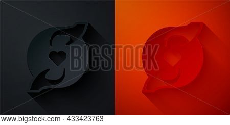 Paper Cut Pleasant Relationship Icon Isolated On Black And Red Background. Romantic Relationship Or
