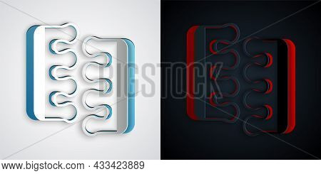 Paper Cut Toe Separator For Pedicure Icon Isolated On Grey And Black Background. Paper Art Style. Ve