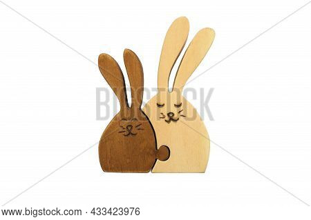 Wooden Figures Of Two Hares Together Isolated On White Background. Concept Of Family And Love, Mothe