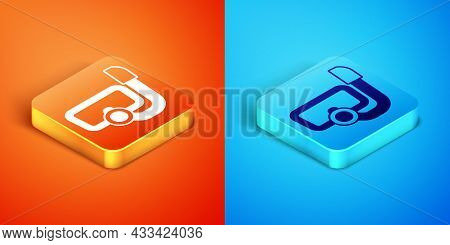 Isometric Diving Mask With Snorkel Icon Isolated On Orange And Blue Background. Extreme Sport. Divin