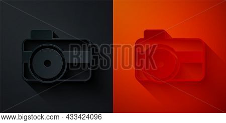 Paper Cut Photo Camera For Diver Icon Isolated On Black And Red Background. Foto Camera Icon. Diving