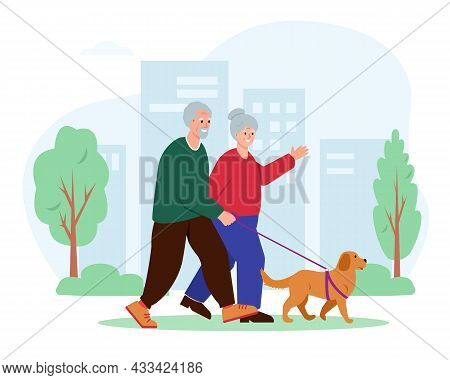 Elderly Couple Walking With Dog In City. Senior Man And Woman Active Leisure. Healthy Lifestyle Of R