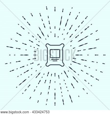 Black Line Fertilizer Bag Icon Isolated On Grey Background. Abstract Circle Random Dots. Vector