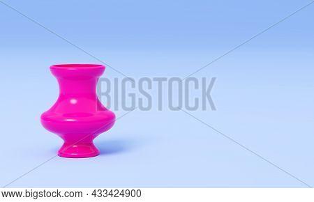 Stylized Vase, 3d Render. Bright Pink Vase On A Blue Background. Glossy Pink Jug