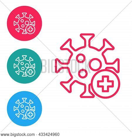 Red Line Positive Virus Icon Isolated On White Background. Corona Virus 2019-ncov. Bacteria And Germ