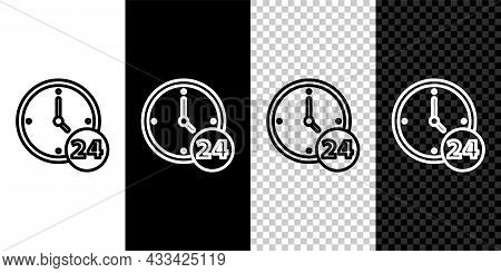 Set Line Clock 24 Hours Icon Isolated On Black And White Background. All Day Cyclic Icon. 24 Hours S