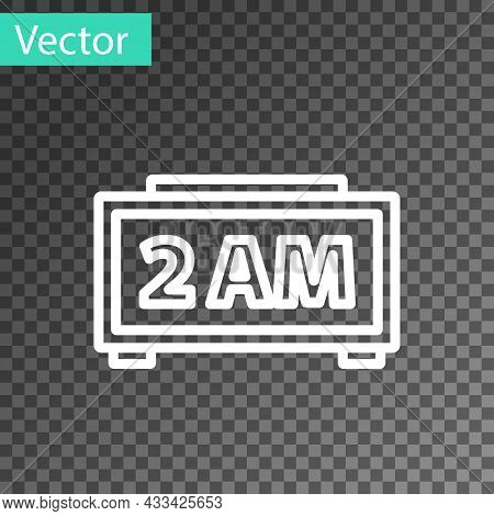 White Line Digital Alarm Clock Icon Isolated On Transparent Background. Electronic Watch Alarm Clock