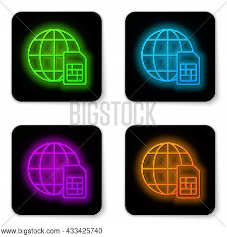 Glowing Neon Line Globe 5g Sim Card Icon Isolated On White Background. Mobile And Wireless Communica