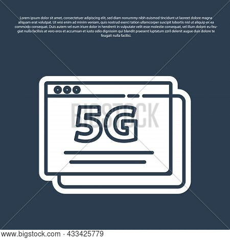 Blue Line 5g New Wireless Internet Wifi Connection Icon Isolated On Blue Background. Global Network