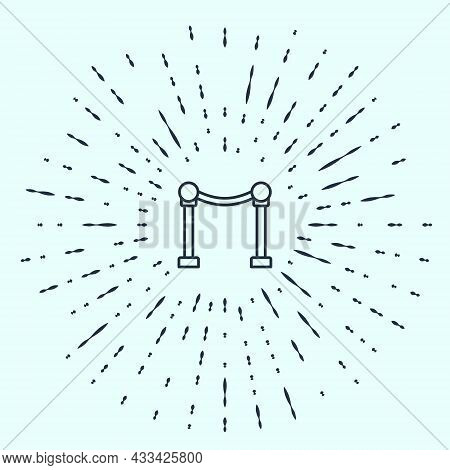 Black Line Rope Barrier Icon Isolated On Grey Background. Vip Event, Luxury Celebration. Celebrity P