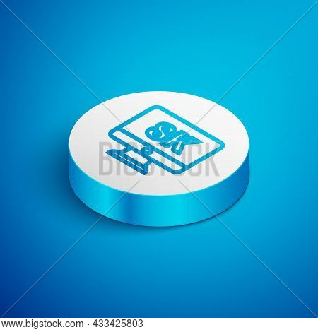 Isometric Line Computer Pc Monitor Display With 8k Video Technology Icon Isolated On Blue Background