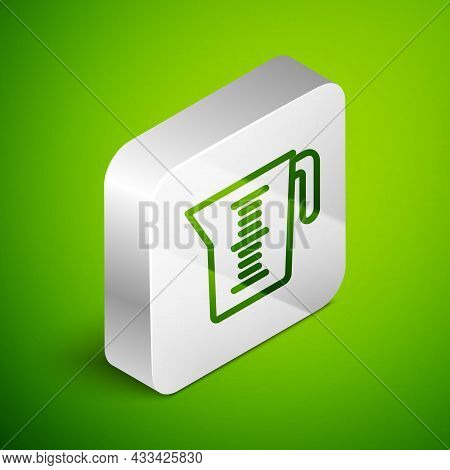 Isometric Line Measuring Cup To Measure Dry And Liquid Food Icon Isolated On Green Background. Plast