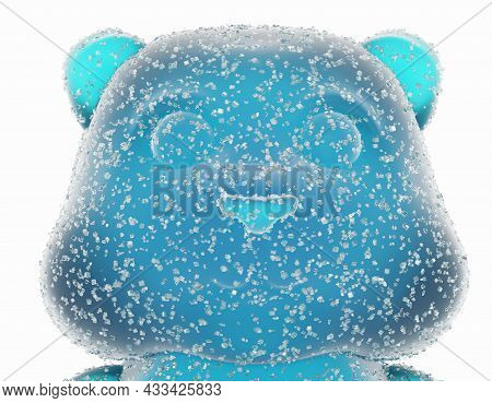 Gummy Bear Candy. Marmalade In Sugar, 3d Render. Delicious Jelly Gummy Bear Isolated On A White Back