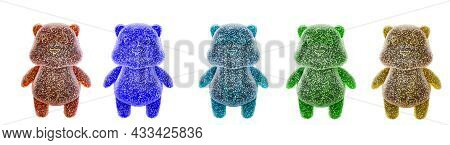 Multicolored Jelly Bean Bears Isolated On A White Background. Jelly Bears Fruit Gummy. Gummy Bear Ca