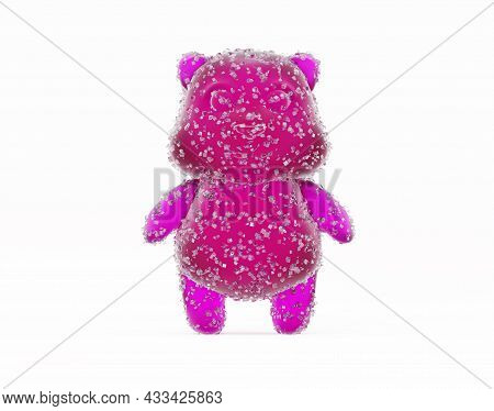 Gummy Bear Candy. Colorful Marmalade In Sugar, 3d Render. Delicious Jelly Gummy Bear On A White Back