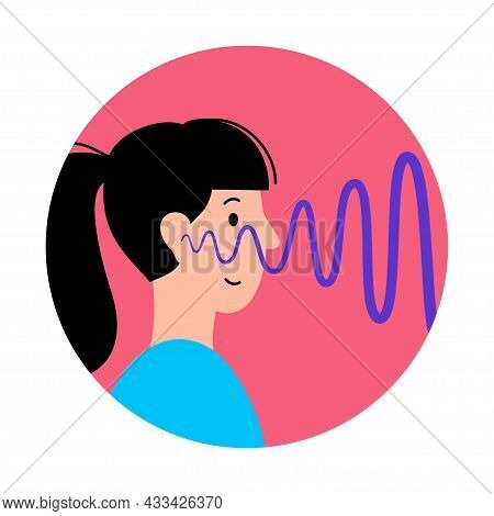 Human Ear And Auditory Icon. Hearing Test. Acoustic, Ringing, Audiology Concept. Noise Symbol On Whi