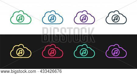 Set Line Music Streaming Service Icon Isolated On Black And White Background. Sound Cloud Computing,
