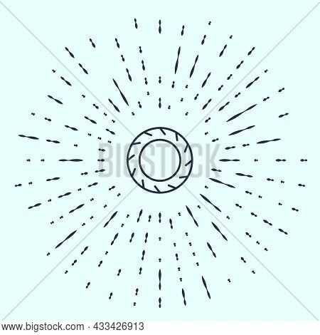 Black Line Bicycle Wheel Tire Icon Isolated On Grey Background. Bike Race. Extreme Sport. Sport Equi